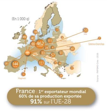 carte européenne des exportations de semences en 2019
