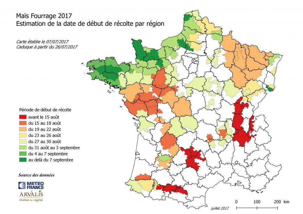 estimation de la date de début de récolte par région pour le maïs fourrage