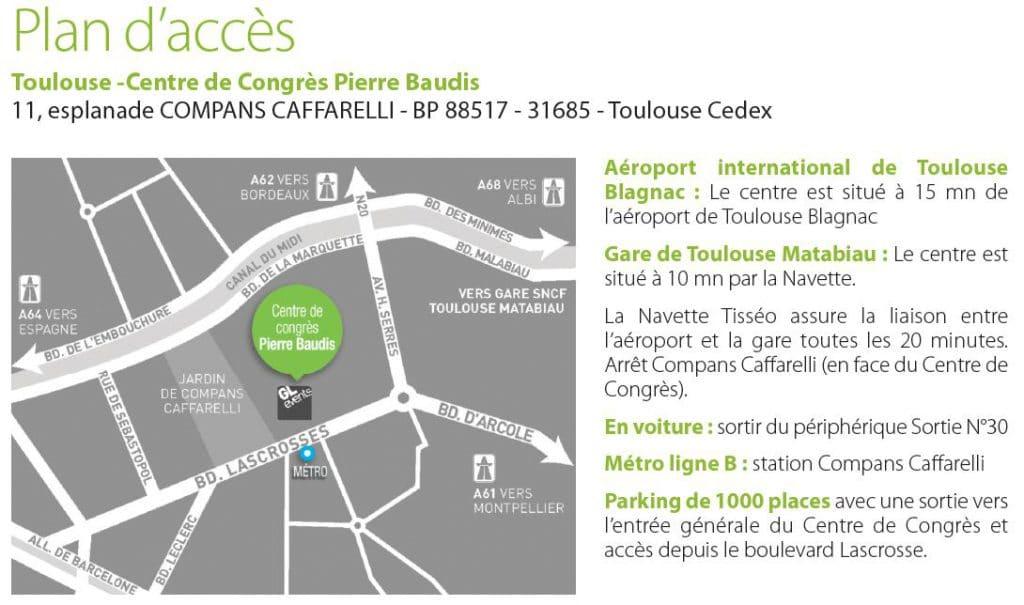 plan d'accès palais des congrès Pierre Baudis à Toulouse