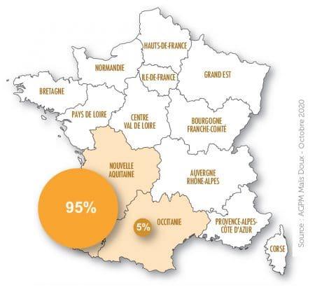 carte répartition en régions du maïs doux