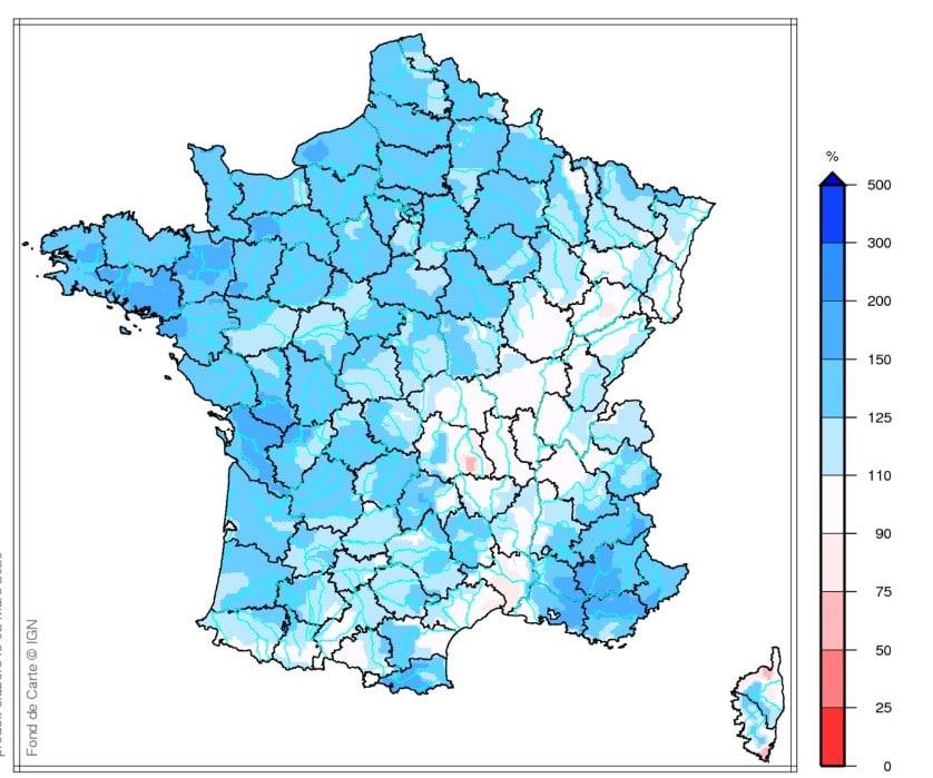 carte de la situation hydrique favorable en France