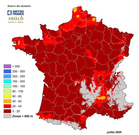 carte France du cumul précipitations juillet 2020