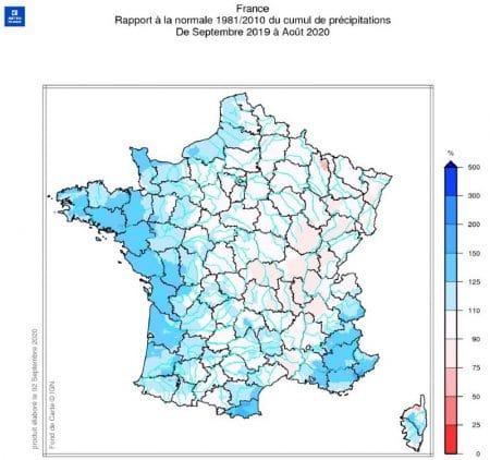 carte FR rapport normale 1981-2010 cumul précipitations 09-2019 08-2020