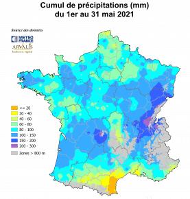 Carte de France avec la pluviométrie de mai 2021