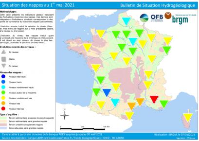 carte de france de la situation des nappes au 1 mai 2021