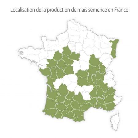carte de france de la production de maïs semence